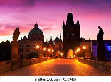 Charles Bridge in Prague (Czech Republic) at dawn