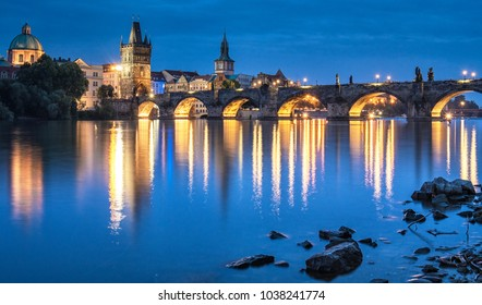 Charles Bridge, Prague in dusk
