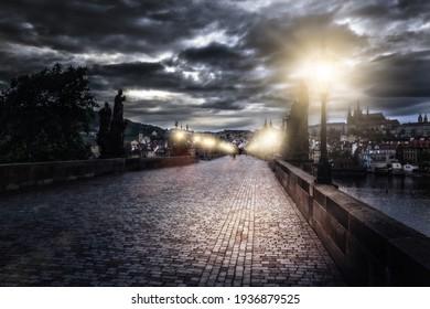 Charles Bridge in Prague at night, Czech Republic.