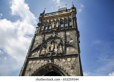 Charles Bridge Prague Old Town Gate Tower with Blue Sky on Sunny day