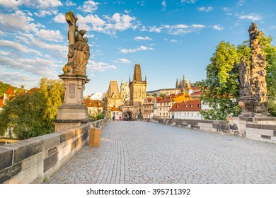 Charles bridge with its statuette, Lesser Town Bridge Tower and the tower of the Judith Bridge