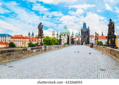 Charles bridge, tower, the Church of St. Francis, Prague, Czech Republic