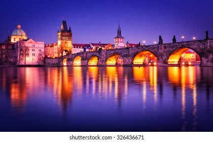 Charles bridge water reflection, Prague, Czech republic