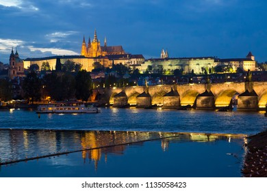 Charles Bridge(Karluv Most)  over Vltava river and Prague Castle, Czech Republic