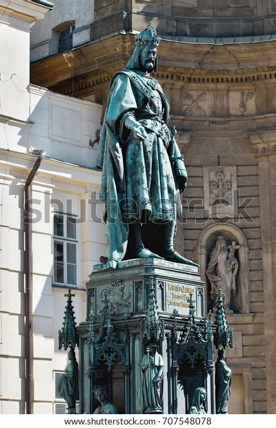 Charles IV - heroic statue. The statue is located at the Charles Bridge. Prague, Czech Republic.