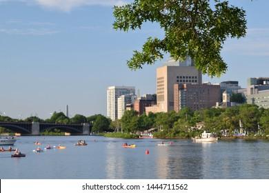 Charles river and Esplanade in Boston, MA