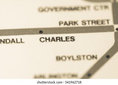Charles Station. Boston Metro map.