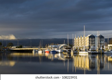 Charles Street Bridge and Launceston seaport in beautiful late afternoon light, Launceston, Tasmania, Australia