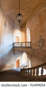 Charles V palace stairs and hall. Vertical panorama