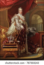 CHARLES X, by Henry Bone, 1829, British copy of French painting. From original by Francois Gerard. Charles was the younger brother of Kings Louis XVI and Louis XVIII, and ruled for six years, from 182