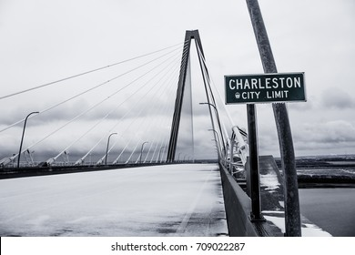 """Charleston City Limit"" -  This is the Ravenel Bridge in Charleston, SC during the 2014 Ice Storm that shut down the city for days."