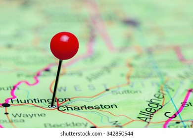 Charleston pinned on a map of USA