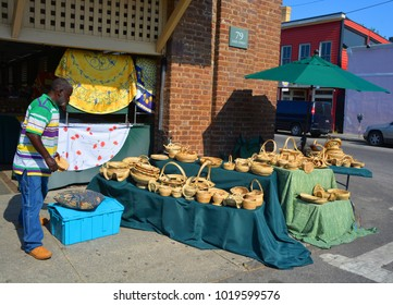 CHARLESTON SC 06 28 16: With 50 resident Gullah artisans, the Charleston City Market is the epicenter of sweetgrass basketry one of the nation oldest and most beautiful handicrafts of African origin