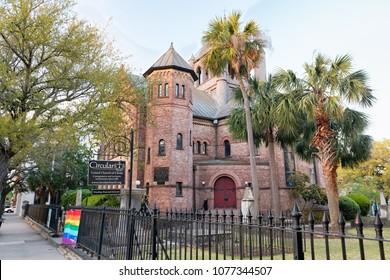 CHARLESTON, SC - APRIL 5, 2018: Historic Circular Congregational Church United Church of Christ in Charleston South Carolina since 1681.