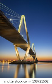 Charleston SC Arthur Ravenel Jr. Suspension Bridge over South Carolina Cooper River Sunset on spring evening