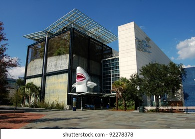 CHARLESTON, SC - AUGUST 15: South Carolina Aquarium on Charleston Harbor, which opened in May 2000, and is seen here on August 15, 2011, celebrates sharks with a special exhibit in Charleston, SC