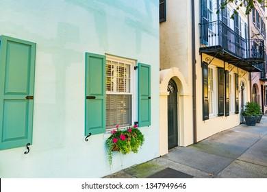 Charleston, SC - November 3, 2018: Colorful homes in the French Quater of Charleston, South Carolina along Battery Street