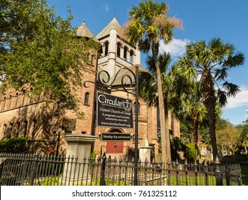 CHARLESTON, SC - OCT 03, 2017: Historic Circular Congregational Church United Church of Christ in Charleston South Carolina since 1681.
