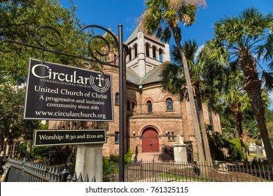 CHARLESTON, SC - OCT 03, 2017: Historic Circular Congregational Church in Charleston South Carolina since 1681.