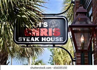 CHARLESTON, SC, USA - APRIL 15, 2017: Ruth's Chris Steak House sign on the charming streets of Charleston South Carolina.