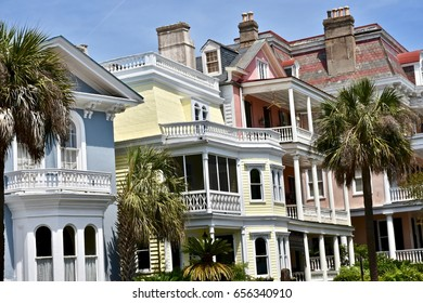 CHARLESTON, SC, USA - APRIL 15, 2017: Old colonial style home in historic Charleston South Carolina.