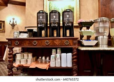 CHARLESTON, SC, USA - APRIL 16, 2017: Coffee and breakfast bar inside historic Ansanborough Inn.