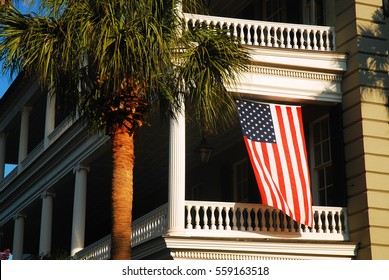 Charleston SC, USA June 23, 2010 A historic Antebellum home flies the American flag in Charleston, South Carolina