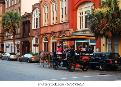 Charleston, SC, USA June 23, 2010 A narrated tour of Charleston, South Carolina takes visitors through the historic city via horse drawn carriage