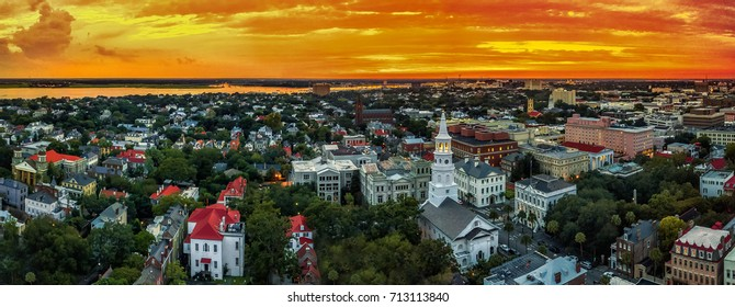 Charleston skyline sunset