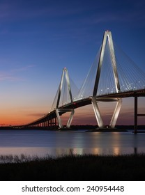 CHARLESTON, SOUTH CAROLINA - DECEMBER 7: Sunset at the Arthur Ravenel Jr. Bridge across the Cooper River on December 7, 2014 in Charleston, South Carolina