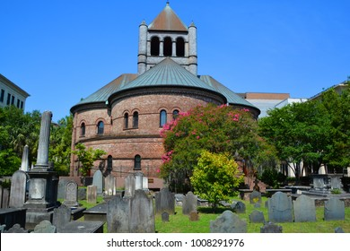 CHARLESTON SOUTH CAROLINA JUNE 24 2016: Circular Congregational Church is a historic church used by a congregation established in 1681. Its the Parish House of the Circular Congregational Church,