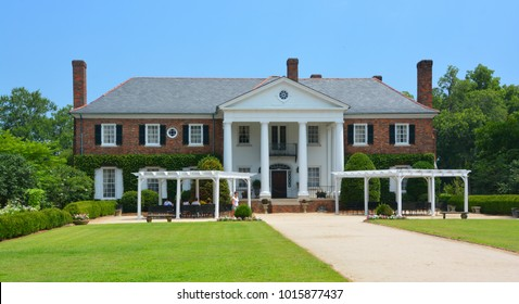 CHARLESTON SOUTH CAROLINA JUNE 28 2016: Main house in Boone Hall Plantation in Mount Pleasant,  plantation includes a large Colonial Revival plantation house that replaces the lost original house.