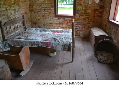 CHARLESTON SOUTH CAROLINA JUNE 28 2016: Inside of slave cabins in Boone Hall Plantation in Mount Pleasant, the slave houses are insightful, and the Gullah Culture explanation is informative