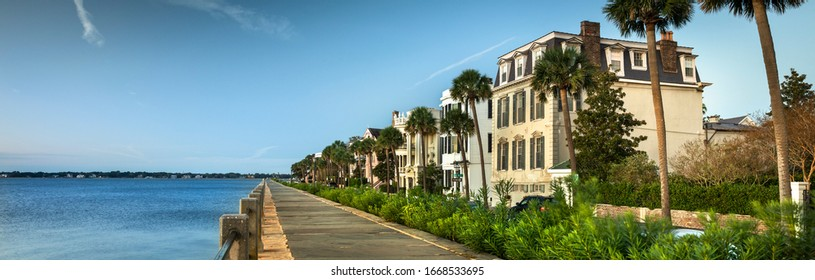 Charleston South Carolina panoramic row of old historic federal style houses on Battery Street  USA