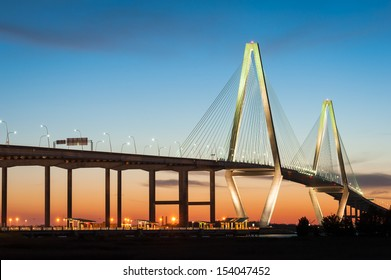 Charleston South Carolina Ravenel Cooper River Bridge Sunset