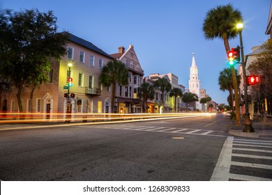 Charleston, South Carolina, United States - October 30, 2018: Beautiful view of Downtown streets during a vibrant sunrise.