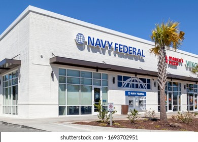 Charleston, South Carolina, USA - February 28, 2020: one of the Navy Federal bank branch in Charleston, South Carolina, USA, the largest natural member credit union in the United States.
