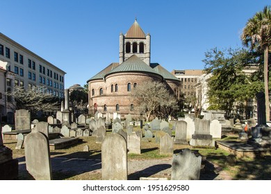 Charleston, South Carolina, USA - February 23, 2021: Exterior of the Circular Congregational Church and graveyard. The cemetery has monuments that date back to 1691 making it the oldest in Charleston.