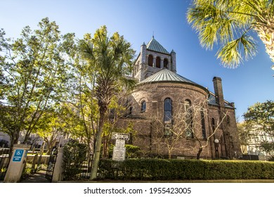 Charleston, South Carolina, USA - February 23, 2021: Exterior of the Circular Congregational Church The church cemetery has monuments that date back to 1691 making it the oldest in Charleston.