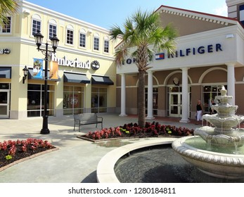 Charleston, South Carolina / USA - June 2011: Timberland and Tommy Hilfigger stores at the Tanger Outlet Mall in Charleston
