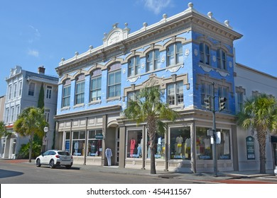 CHARLESTON SOUTH CAROLINA USA JUNE 27 2016: King Street historic Bluestein mens wear building was founded sometime between 1883 and 1885