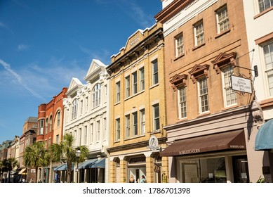 CHARLESTON SOUTH CAROLINA USA - MARCH 28, 2019: King Street historic with people, shop and historical building.