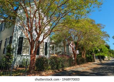 Charleston, South Carolina USA - October 9, 2013: Historic southern style homes in the historic French Quarter District along Charleston Bay.