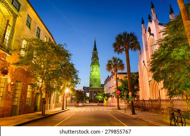 Charleston, South Carolina, USA view of the French Quarter at Twilight.