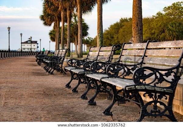 Charleston, South Carolina - Waterfront Park benches - sunrise