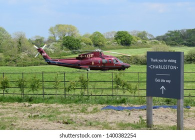 Charleston, Sussex, England, May 16 2019: Royal helicopter in grounds of Charleston House, during a visit by it's patron, the Duchess of Cornwall.  Home of the Bloomsbury Group from 1916.