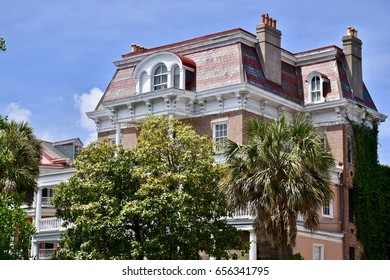 CHARLESTON, USA - APRIL 15, 2017: Old colonial style home in the historic Charleston South Carolina district.