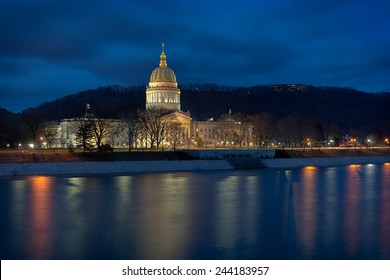 CHARLESTON, WEST VIRGINIA - DECEMBER 17: West Virginia State Capitol building from across the Kanawha River on December 17, 2014 in Charleston, West Virginia