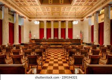 CHARLESTON, WEST VIRGINIA - DECEMBER 18: Supreme Court chamber in the West Virginia State Capitol building on December 18, 2014 in Charleston, West Virginia