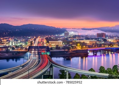 Charleston, West Virginia, USA skyline over the river.